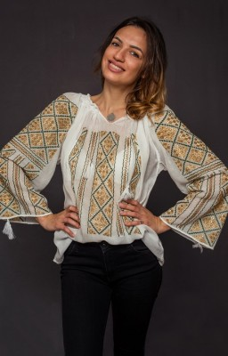 authentic embroidered romanian blouse