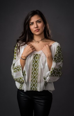 authentic handmade embroidered Romanian blouse